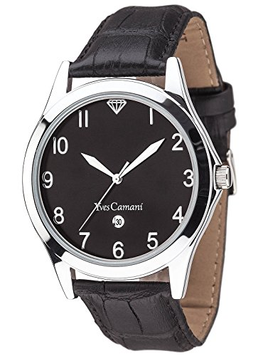Yves Camani Men's Quartz Watch ALLIER Gents silver/black 43mm YC1057-B with Leather Strap