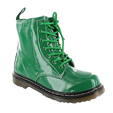New Ladies Ankle Retro Combat Lace Funky Vintage Goth Boots Leisure Gothic Biker Street Punk Hiker Boot, Green, size UK 3