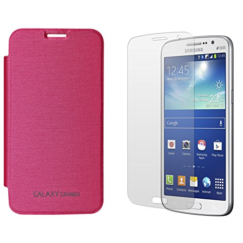 DMG Smooth PU Leather Back Replace Flip Cover Case For Samsung Galaxy Grand Max SM-G7200 (Magenta) + Matte Screen