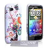 White / Multicoloured Floral Swirl Pattern Silicone Gel Case Cover For The HTC Sensation / Sensation XE With Screen Protector Film And Grey Micro-Fibre Polishing Clothby Yousave Accessories