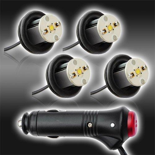 4Pc 4Watt High Power Led Emergency Strobe Flash Light Kit 20 Flash Modes With Memory Function -Universal 12V