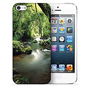 Snoogg Lake In The Jungle Printed Protective Phone Back Case Cover For Apple Iphone 5 / 5S