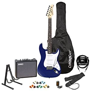 Silvertone Revolver SS11 Colbalt Blue Electric Guitar w/ Stand, Strap, Tuner, Strings, 10W Amp, 10' Cable, Picks & Guitar Bag