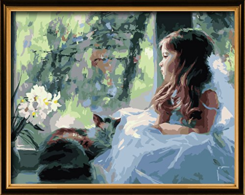 paint by numbers Girl and cat 16-by-20 inches Frameless.