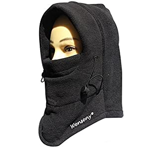 Wenseny - Newest Motorcycle Fleece Neck Hat Winter Ski Full Face Mask Cover Cap black