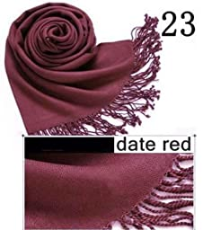 HiiBaby®Top Quality Hot Sale Ladies Pashmina Shawl Hijab Scarf Huge Range Wrap 40Colors (Date Red 23)