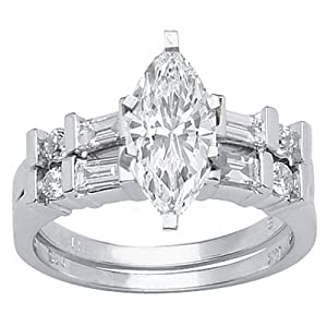 1.28 Carat Marquise Cut / Shape GIA Certified 14K White Gold Channel Set Baguette And Round Diamond Wedding Set ( I Color , I1 Clarity ) by Chandni Jewels