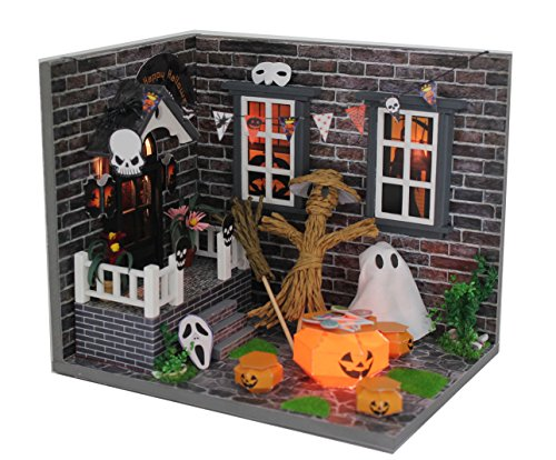 wood dollhouse miniature kit diy doll house room with furniture cover toy artwork gift halloween