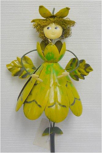 Yellow Flower Dress Metal Garden Fairy Gift Stake