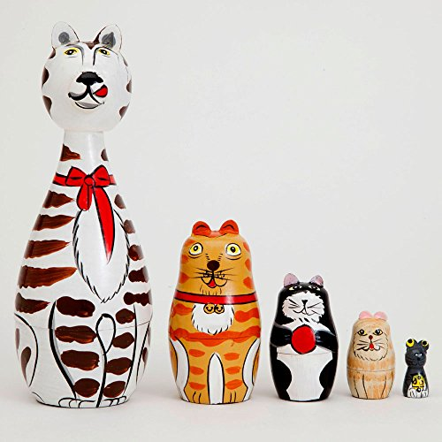 Bits-and-Pieces-Cleo-Friends-Nesting-Cats-Hand-Painted-Wooden-Nesting-Dolls-Matryoshka-Set-of-5-Dolls-From-7-Tall-with-Gift-Box