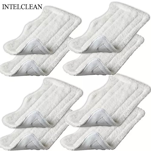 INTELCLEAN Accessories For 8pcs Replacement Microfiber Pads for Euro Pro Shark Steam Mop S3250 S3101 (set of 8) (Steam Mop S3101 compare prices)