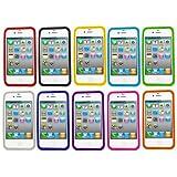 Samrick Lot de 10 coques en silicone pour iPhone 4/4S Bleu fonc�/bleu clair/vert/orange/blanc/rose/violet/rouge/jaune/noir