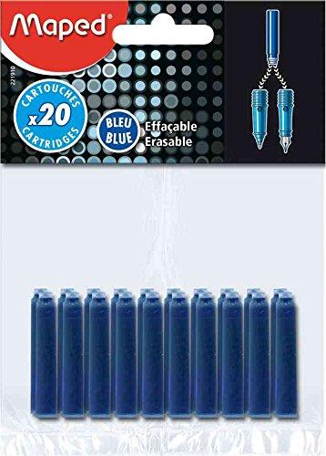 MAPED Blister de 20 Cartouches d'encre bleue effaçable standard