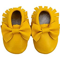 Voberry® Baby Moccasins Bow Shoes Newborn Firstwalker Anti-slip Leather Infant Shoes (M, Yellow)