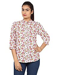 Kiosha Pink Cotton 3/4th Sleeves shirt for women