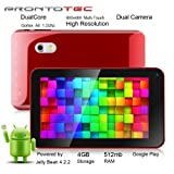 Prontotec 7 Inch Android Tablet PC, Dual Core 1.2 Ghz, Android 4.2.2, 4G ROM, DDR3 512M RAM, Dual Cameras, Wi-Fi, G-Sensor (Red)