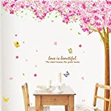 Large Pink Sakura Flower Cherry Blossom Tree Wall Sticker Decals PVC Removable Wall Decal for Nursery Girls and Boys Children's Bedroom