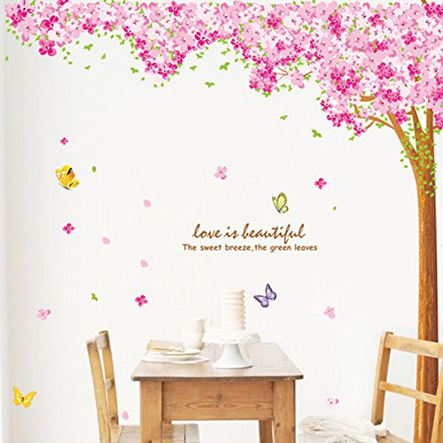 Pink Sakura Flower Cherry Blossom Tree Wall Sticker Decals Pvc Removable Wall Decal For Nursery Girls And Boys Children'S Bedroom 220*210Cm front-786070