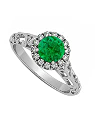 Emerald And Cubic Zirconia Halo Filigree Engagement Ring In 925 Sterling Silver