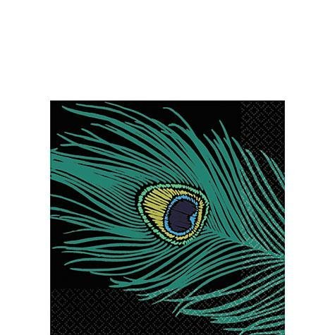 "Amscan Decorative Peacock Plumes Party Beverage Paper Napkins (16 Pack), 5 x 5"", Black"