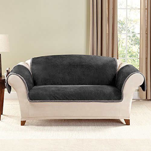 Sure Fit Vintage Leather Loveseat Slipcover Black Sf43784 Furniture Office Furniture