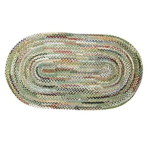 Braided Rugs Green Rayon/Cotton Braided Rug Chenille 7 X 9 USA