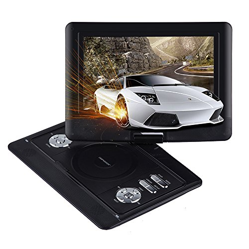 DBPOWER 10.5-Inch Small DVD Player with Rechargeable Battery, SD Card Slot and USB Port - Black