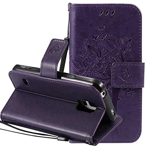 Samsung-Galaxy-S5-mini-Hlle-Cover-Case-Leder-Muster-Flip-Etui-Case-EchtNnopbeclik-Neues-Design-PU-Leather-Luxus-Blume-Case-Handytasche-Imprinting-Baum-Blume-Katze-und-Schmetterling-Kristall-Glitzer-St