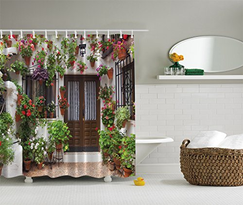 Ambesonne Spanish House Print Artistic Designer Shower Curtain