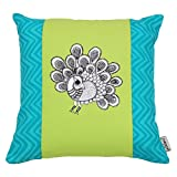 Folkloric Cotton, Peacock, Reversible, Decorative, Pillow or Cushion Cover ,16x16 inches, Turquoise Blue
