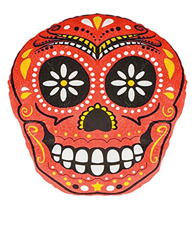 Day Of The Dead Mexican Red Skull Pillow Halloween Decoration Accessory