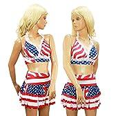 ダンス衣装 コスプレ アメリカ国旗 星条旗 USA 柄 2点セット ショート丈 ブラトップ ティアードフリルスカート ストレッチジャージー フリーサイズ