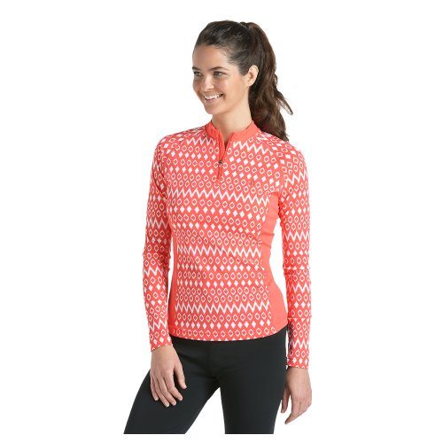 Coolibar UPF 50+ Women's Quarter Zip Long Sleeve Swim Shirt – Sun Protective (Large – Coral Geo Ikat)