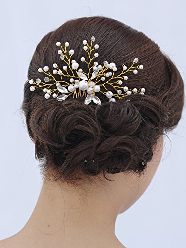 Venusvi Vintage Wedding Hair Combs with Bead and Rhinestones - Bridal Headpiece for Bridesmaids 2