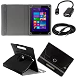 ECellStreet ™ PU Leather Rotating 360° Flip Case Cover With Tablet Stand For Tescom Bolt 3 - Black + Free Aux...