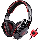SADES SA-901 USB Wired 7.1 Surround Noise Cancelling PC Gaming Headset With Microphone (Red+Black)