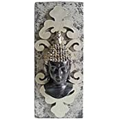 "Wooden Silver And Black Buddha Tea Light: Home Décor - 3"" X 3"" X 8"""