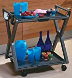 Serving Cart, Tea Trolley, Foldable, Dual Handle, Indoor or Outdoor, with Wheels, Italian
