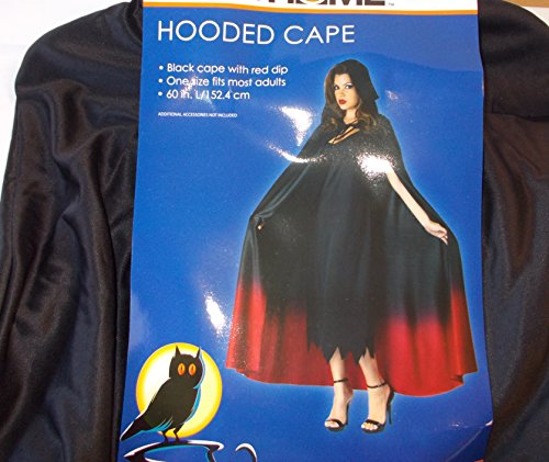 Black Hooded Cape Red Trim Costume Adult 60' OSFM NWT