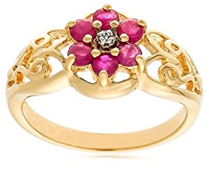 18k Yellow Gold Plated Sterling Silver Diamond-Accent and Ruby Flower Ring by Amazon Curated Collection