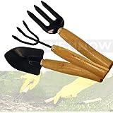 Wennow 3PC Steel Garden Tools Mini Gardening Tool Set W/ Garden Shovel/Spade Claw Rake