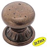 "Amerock BP4485-RBZ Rustic Bronze Ambrosia Euro Stone Round Cabinet Hardware Knob, 1-1/4"" Diameter - 25 Pack"