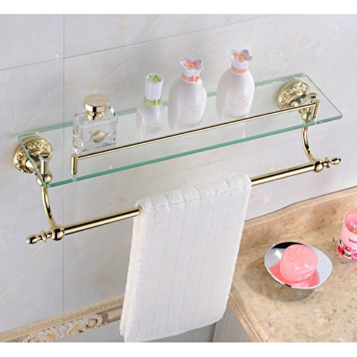 Ouku Wall Mount Bathroom Bath Shower Antique Inspired Ti-Pvd Finish Solid Brass Material Glass Shelf Lavatory Accessories Tools And Improvement front-926282