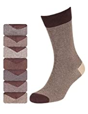 7 Pairs of Cotton Rich Freshfeet Feeder Striped Socks with Silver Technology [T10-1258S-S]