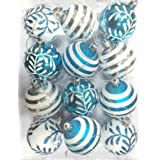 Queens Of Christmas WL-ORN-12PK-SFLN-AQ Ball Ornament With Snowflake And Line Glitter Design, Aqua/White