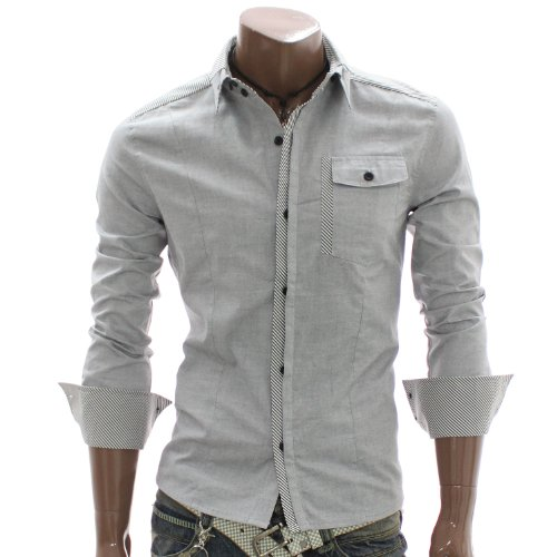 Mens Casual Layered Button Down Shirt GRAY (AT896)