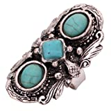 YAZILIND Jewelry Vintage Rimous Round Turquoise Ethnic Tibetan Silver Striking Adjustable Ring for Women