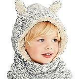Connectyle Boys Girls Kids Winter Hats Scarf Warm Woolen Earflap Hood Hat Scarves with Ears Skull Caps,Black White,2-4T (49-53cm Head Girth)