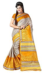 Balkrishna Fabrics Women's Bhagalpuri Silk Sarees (Yellow)