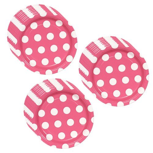 1 X Hot Pink Polka Dot Party Dessert Plates - 24 Guests by Unique
